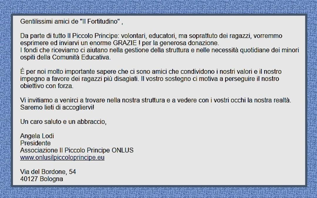 """Anche l'Associazione """"il Piccolo Principe"""" ringrazia il Fortitudino"""